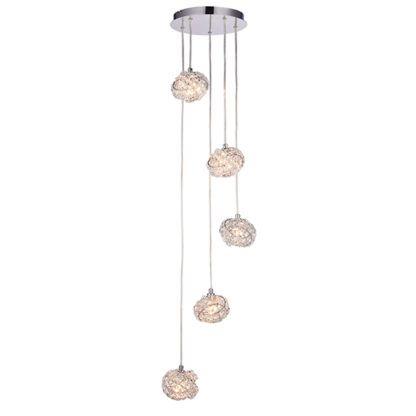 lampa wisząca z kryształowymi kloszami