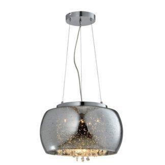 Efektowna lampa wisząca Elysium - szklany klosz, kryształki,srebrna