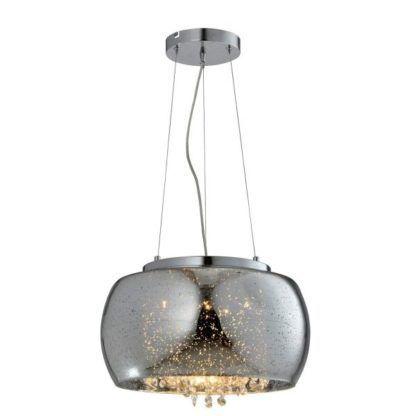 srebrna lampa wisząca z kryształkami glamour