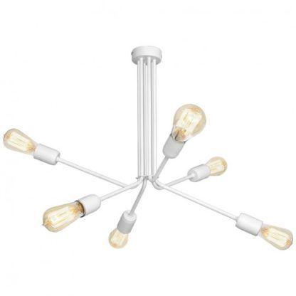 biała designerska lampa sufitowa z metalu