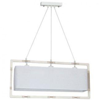Podłużna lampa wisząca Loki - biały abażur, naturalna sklejka