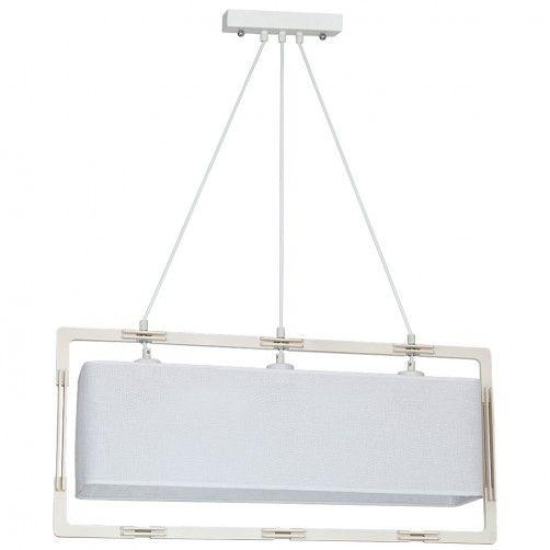 podłużna lampa wisząca jasny abażur i drewno