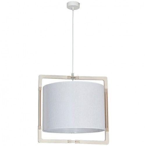 lampa wisząca z białym abażurem i oprawą z drewna
