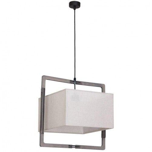 lampa wisząca z beżowym abażurem