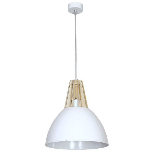 Biała lampa wisząca Zorro - skandynawska, drewniane detale