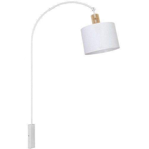 lampa ścienna biała z drewnianymi detalami