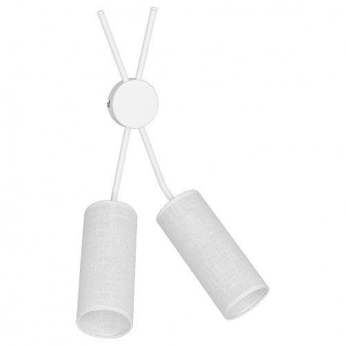 podwójny kinkiet z białymi abażurami