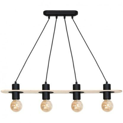 lampa sufitowa czarna drewniana