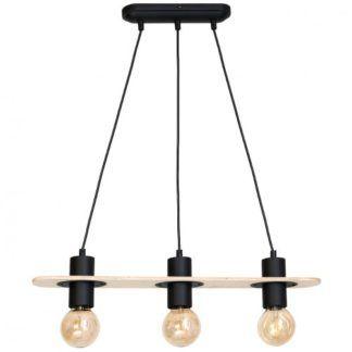 Lampa wisząca Alba - 3 żarówki na drewnianej listwie