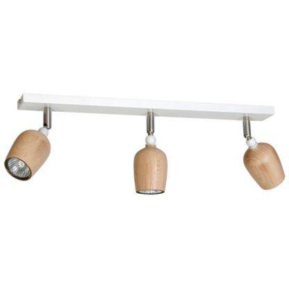 biała lampa sufitowa drewniane reflektory