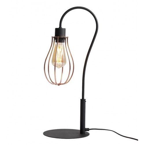 czarna lampa stołowa druciak