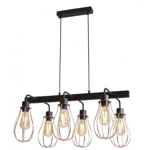 Industrialna lampa wisząca Allegra - druciana, czarno-złota