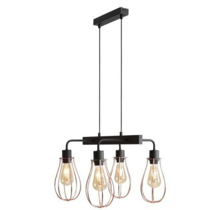 Industrialna lampa wisząca Allegra - 4 klosze, czarno-złota