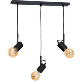 Minimalistyczna lampa wisząca Aluna - 3 czarne reflektorki