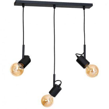 czarna lampa wisząca na trzy żarówki