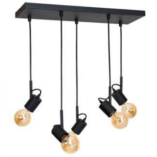 Oryginalna lampa wisząca Aluna - czarna, 5 reflektorków