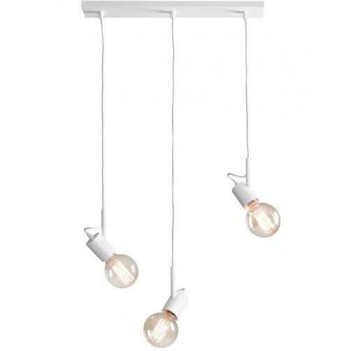 biała lampa wisząca bez klosza