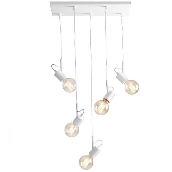 nowoczesna, biała lampa wisząca