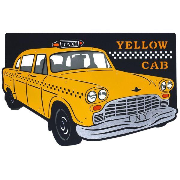 Efektowny kinkiet Taxi - żółta taksówka, metalowy