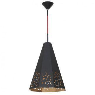 Czarno-złota lampa Atom - czerwone zawieszenie, nowoczesna