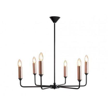 Stylowy żyrandol Aurora - czarna oprawa, miedziane świeczniki
