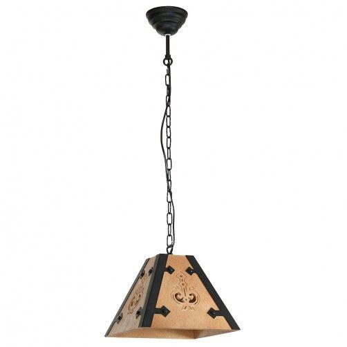 Mała lampa wisząca Bara - drewniana, rustykalna