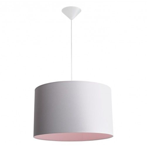 szara lampa wisząca z różowym wnętrzem