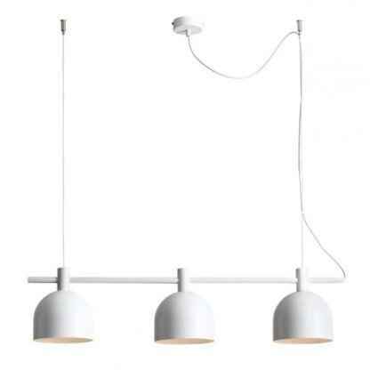 biała lampa wisząca podłużna