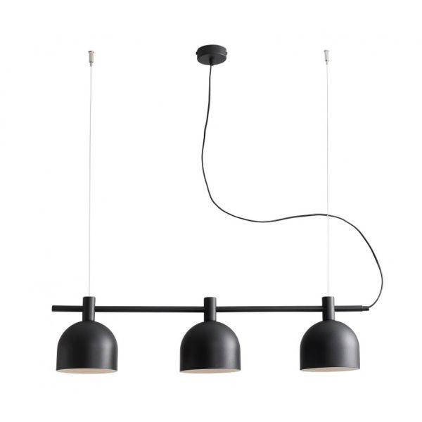 podłużna lampa wisząca na trzy klosze