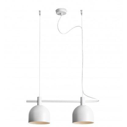 lampa wisząca klosze z białego metalu