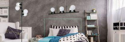 czarne minimalistyczne lampy aranżacja sypialnia