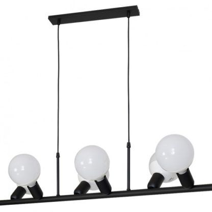 czarna lampa wisząca na 6 żarówek
