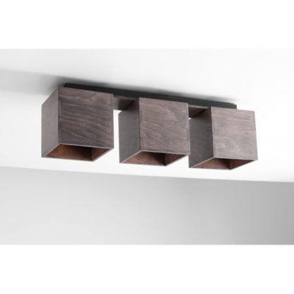 brązowa drewniana lampa sufitowa