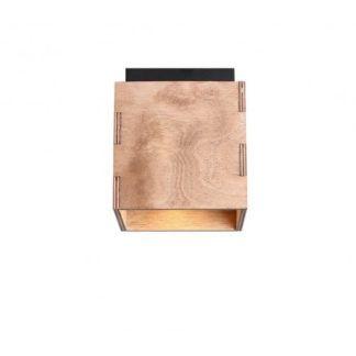 Kwadratowy plafon Bit - drewniany klosz, brązowy