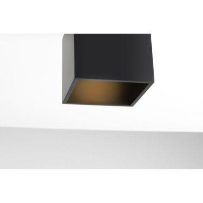 Czarny plafon Bit - drewniany, kwadratowy klosz