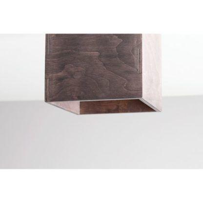 Ciemnobrązowa lampa sufitowa Bit - kwadratowy klosz, drewniany
