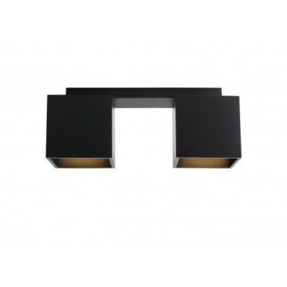 Czarna lampa sufitowa Bit - drewniane klosze