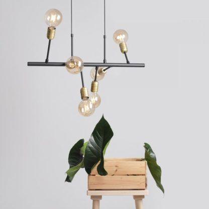 nowoczesna czarno-złota lampa wisząca
