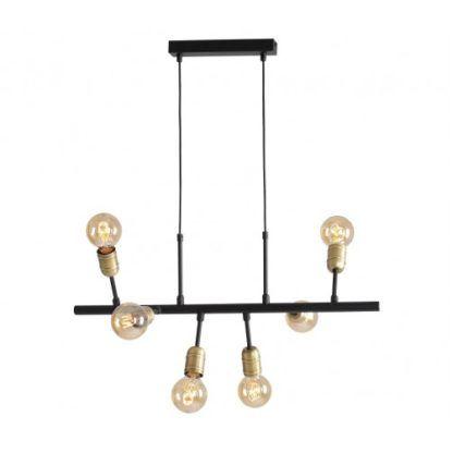 czarno-złota lampa wisząca industrialna