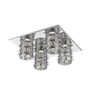 Kwadratowa lampa sufitowa Gianna - 4 ażurowe klosze z kryształkami