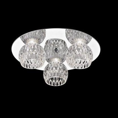 srebrna lampa sufitowa ze szklanymi kloszami