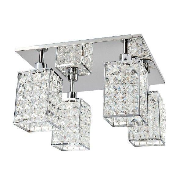 Efektowna lampa sufitowa Claris - 4 klosze, kryształki