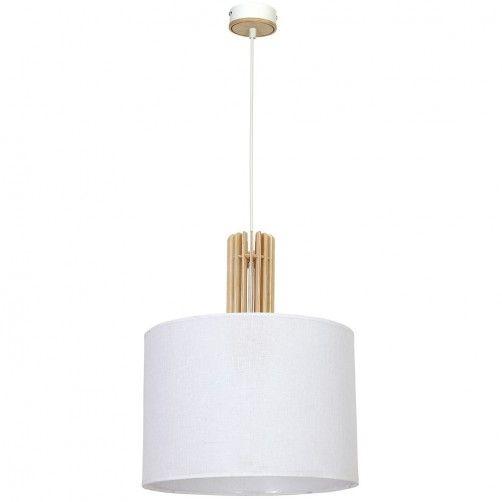 biała lampa wisząca z drewnianymi elementami