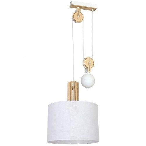 biała lampa wisząca na drewnianym wysięgniku