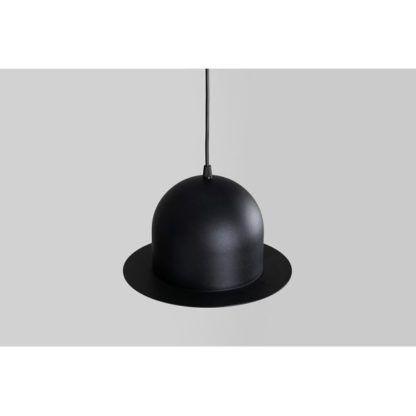 czarna lampa wisząca klosz w kształcie kapelusza