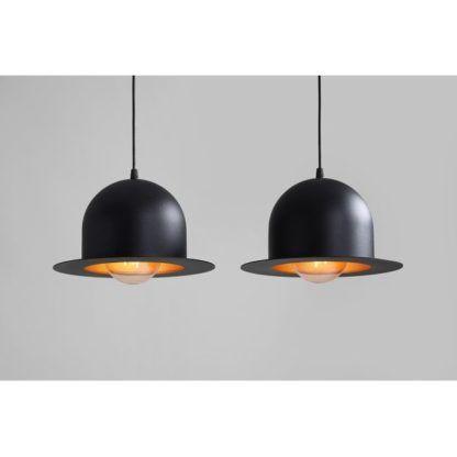 czarna lampa wisząca czarne meloniki złote w środku