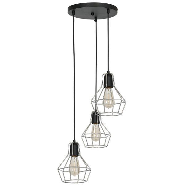 druciana lampa wisząca czarno-srebrna
