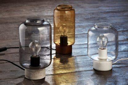 szklane lampy stołowe industrialne