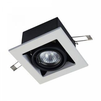 Kwadratowe oczko sufitowe Modern - biało-czarne, metalowe