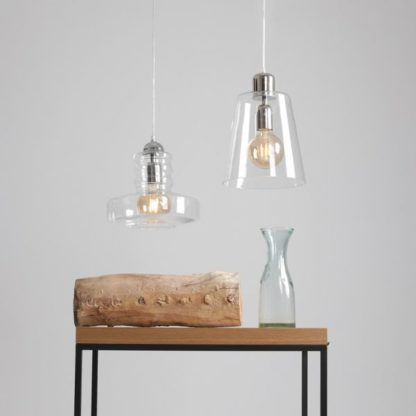 Szklana lampa wisząca Electra - nowoczesna, srebrne detale